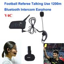 1 UNIDS 1200 M 4 Al Usuario Hablar Al Mismo Tiempo de Intercomunicación Árbitro de Fútbol Auriculares Full Duplex Bluetooth Intercom V4C Interfono