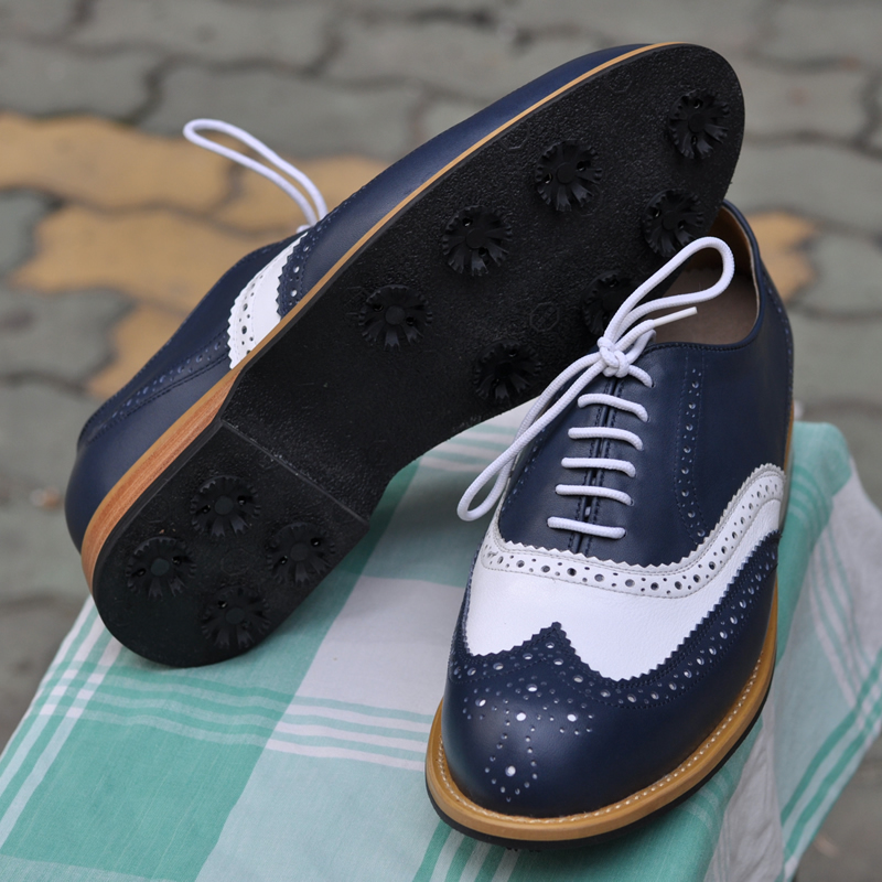 ... Roof Brand Handmade Leather Menu0027s Golf Shoes, Blue And White Mixed  Color, Tendon Soles