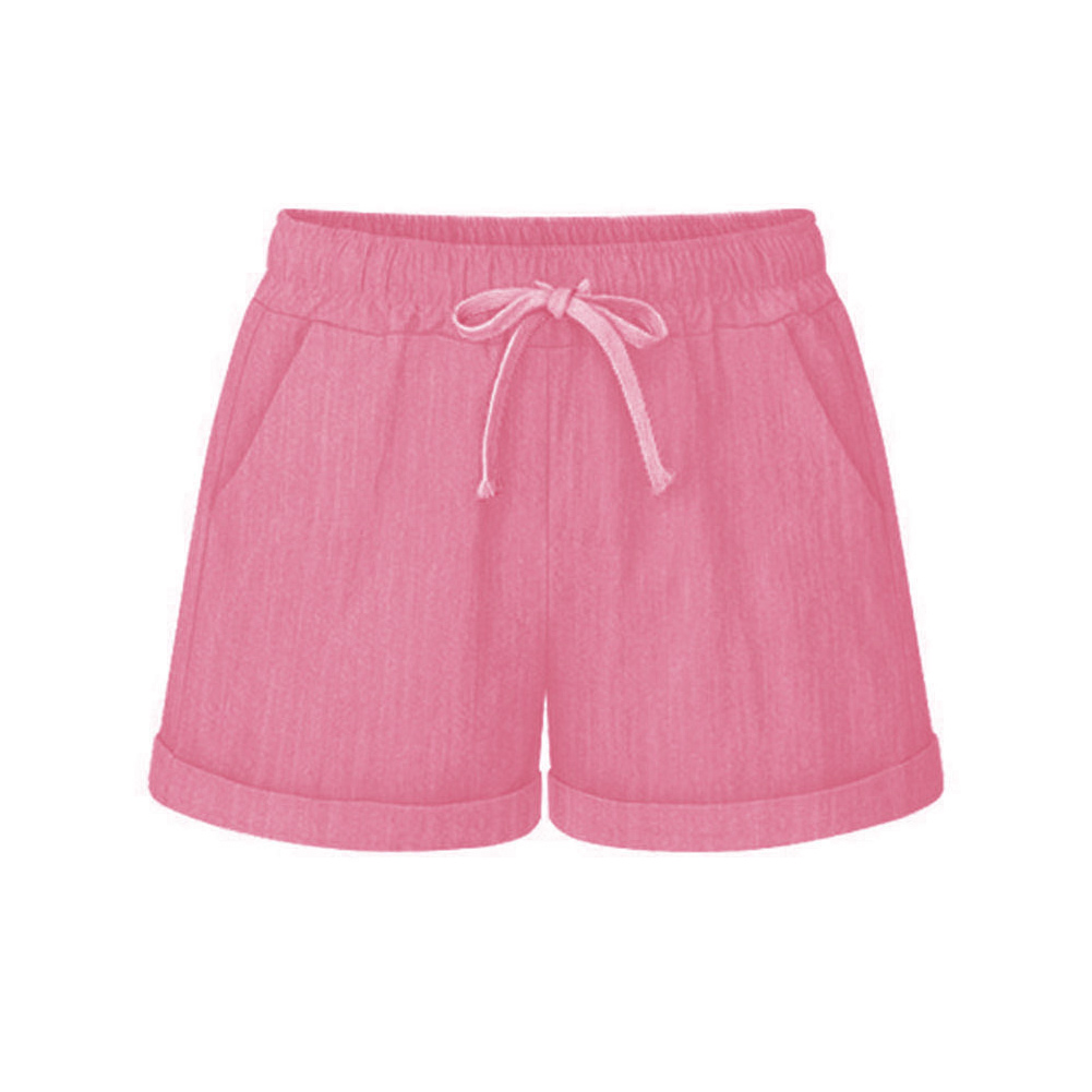 Newly Summer Women Wide Leg Shorts Cotton High Waist Drawstring Pockets Girl Casual Shorts Plus Size M-6XL DO99