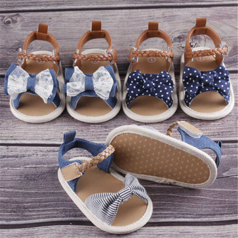 Lovely Baby Girls Summer Bowknot Sandals Anti-Slip Crib Shoes Soft Sole Prewalkers