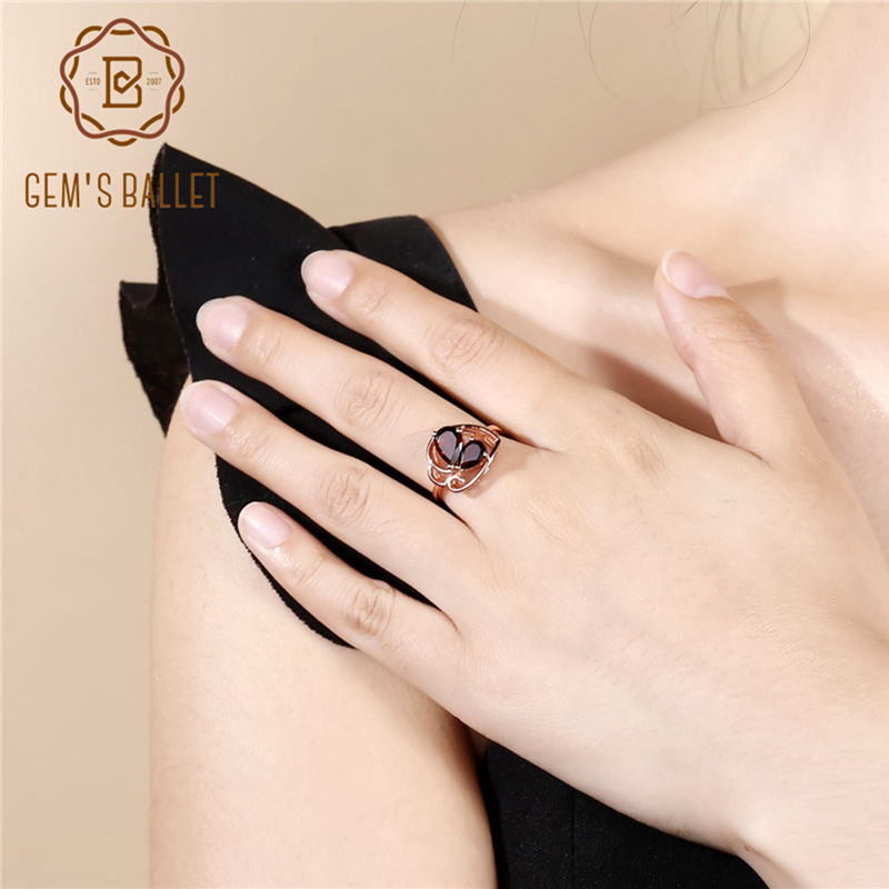 GEM'S BALLET 2.21Ct Natural Red Garnet Butterfly Ring 925 Sterling Silver Rose Gold Plated Gemstone Rings for Women Fine Jewelry