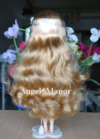 blyth scalp,blyth hair,wig, hair for Blyth doll with scalp,  gold curly  long hair,  For Girl's Gift   TP37 oxette hair oxette