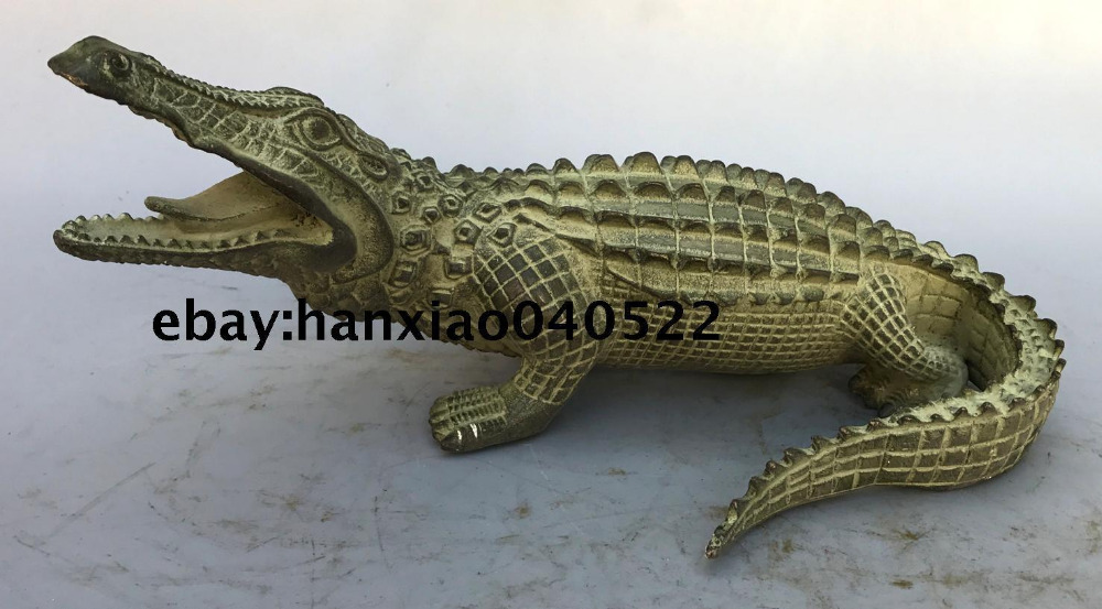 Old Chinese Fengshui Bronze Ferocious crocodile alligator crocodilian Statue Old Chinese Fengshui Bronze Ferocious crocodile alligator crocodilian Statue