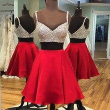 Rot Zwei Stücke Strass Kurze Cocktailkleider Sexy V-ansatz Isolationsschlauchbügels Kurzen Prom Kleider Red Cocktail Party Kleider