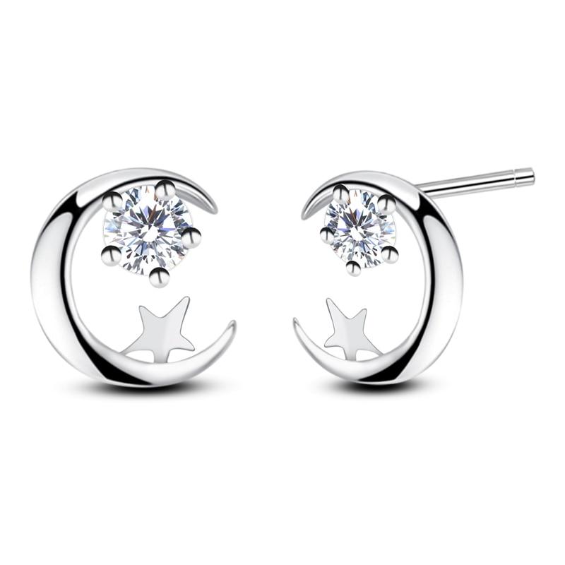 Real Sterling Silver 925 Earrings Christmas Moon And Star Stud Earrings Moon Star Earing Pendientes Plata De Ley 925 Mujer (5)