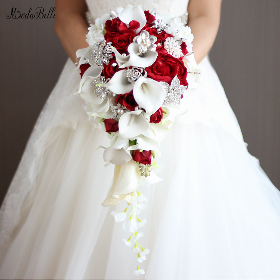 modabelle Artificial Flowers Waterfall Wedding Bouquets With Crystal Bridal Brooch Bouquets Brides Bouquet De Mariage