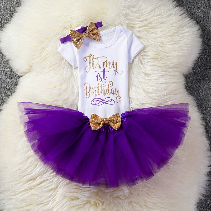 Baby Girl Clothes Toddler Bebes First Birthday Outfit Infant Clothing Dress Romper Headband Tutu Dress Kids Party Wear Baby Gift