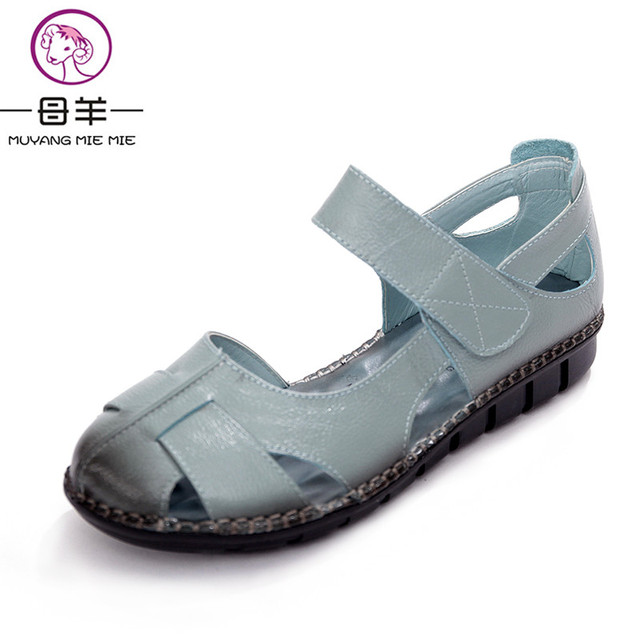 MUYANG MIE MIE Summer Women Shoes Woman Genuine Leather Flat Sandals Female Casual Open Toe Sandals Soft Outsole Women Sandals