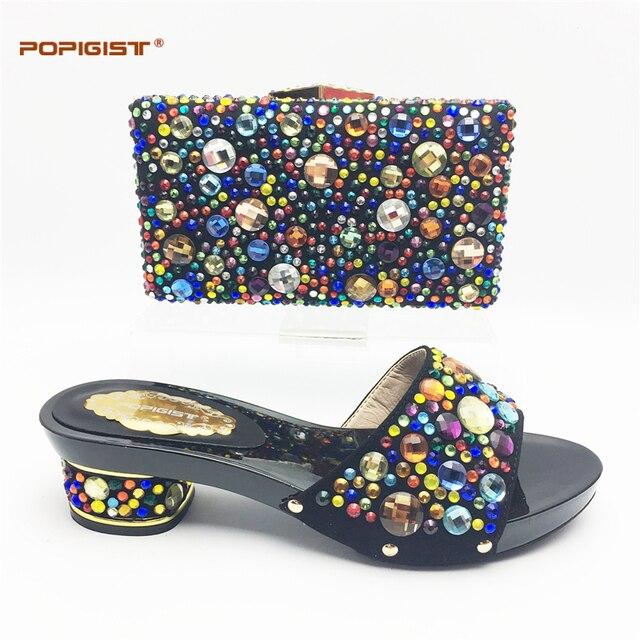 Black Short Comfortable heel Wedding Shoes and Bag Set with Shining  Rhinestone African Women Matching Italian Shoe and Bag Set 2abaf461e1fb