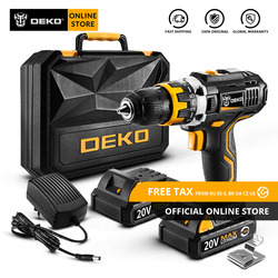 Original DEKO GCD20DU2 20V MAX Cordless Drill Electric Screwdriver Lithium-Ion Mini Power Driver Variable Speed with LED Light