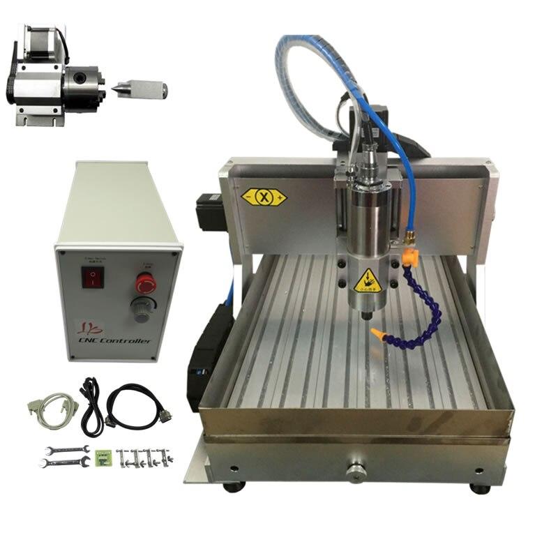 Nouvelle mise à jour type 6040Z avec réservoir d'eau 2.2kw 4 axes bricolage CNC fraiseuse bois routeur pour métal avec pinces