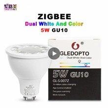 AC100-240V ZLL RGB+ CCT Точечный светильник двойной белый GU10 прожектор zigbee 5 W светодиодные лампы APP телефона контроллер работает с Amazon Echo