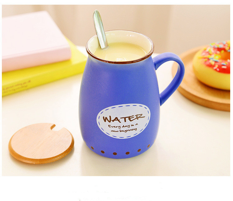 1 400ml Cute Coffee Milk Ceramic Mug with Bambbo Lid and Spoon Water Tea Cup Home Office Drinkware Creative Gifts ND 018