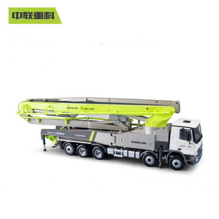 Exquisite 1:38 ZOOMLION 64X-6RZ Concrete Pump Truck Carbon Fiber Engineer Machinery Collectible Diecast Toy Model For Decoration