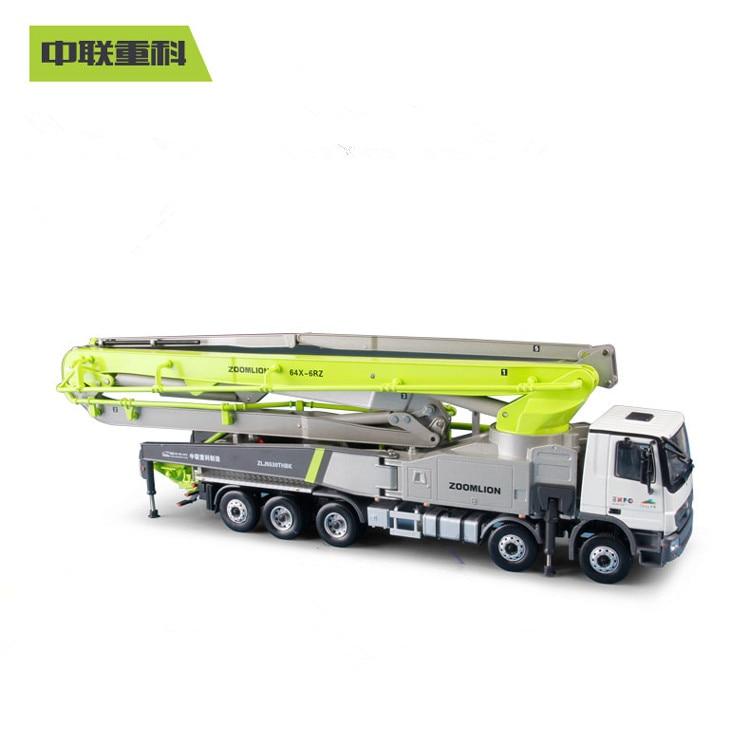 Exquisite 1:38 ZOOMLION 64X-6RZ Concrete Pump Truck Carbon Fiber Engineer Machinery Collectible Diecast Toy Model For Decoration