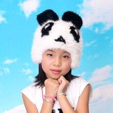 2016New осень зима норки шляпа родитель-ребенок шапочка ребенок панда шляпу общие меховая шапка зимняя шапка мило роскошный натуральный мех Норки сгустите