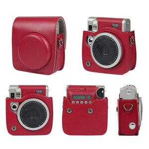 Image 5 - 후지 필름 instax 미니 90 네오 클래식 카메라 케이스 pu 가죽 어깨 스트랩 카메라 가방 크리스탈 pvc 보호 캐리 커버