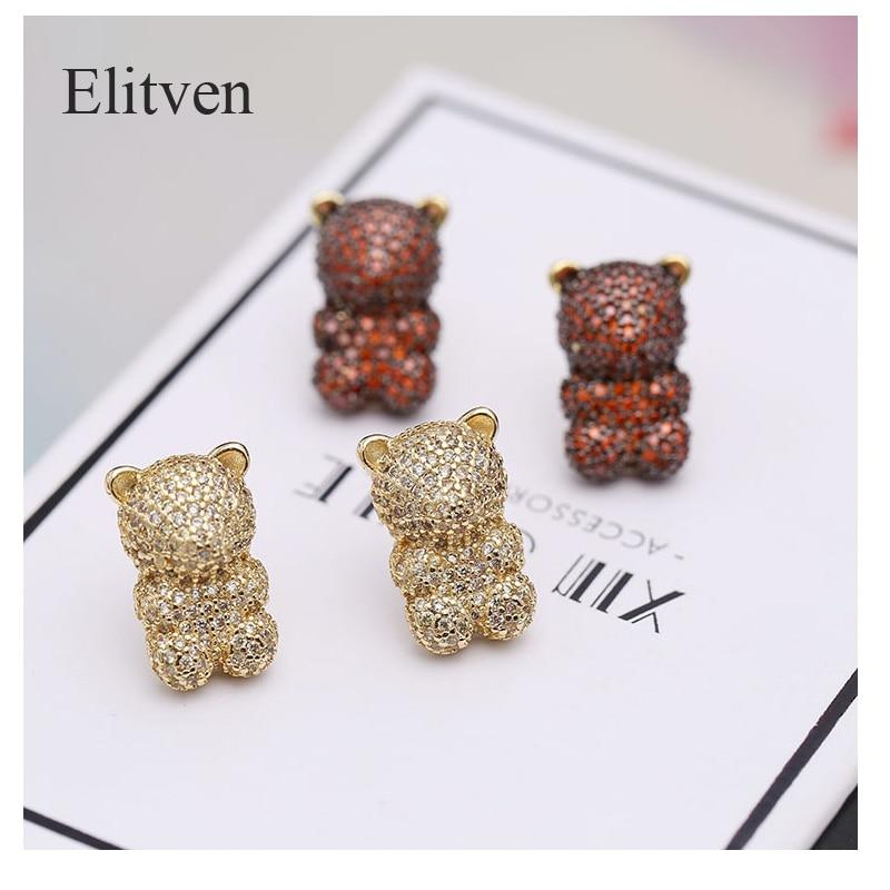 Boucles d'oreilles Elitven Gummy Bear couleur rouge or pour femmes 925 boucles d'oreilles en argent Sterling bijoux boucles d'oreilles coréennes 2019 bijoux fins