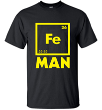 men t shirts tops tees 2017 funny FE MAN Iron Science Chemistry streetwear T-Shirt brand loose clothing pp crossfit camisetas