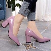 Для женщин Насосы Мода Большие размеры 4-10,5 с острым носком Элегантные женские туфли обувь на квадратном каблуке увеличить стилет осень