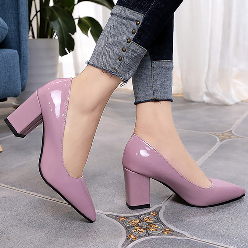 Women Pumps Fashion Large Size 4-10.5 Pointed Toe Elegant Woman Shoes Shallow Square Heel Increase Stiletto Autumn