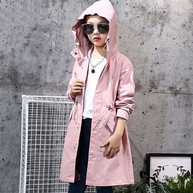 dcbebd473 hooded children jackets for girls kids long trench coat autumn 2018 ...