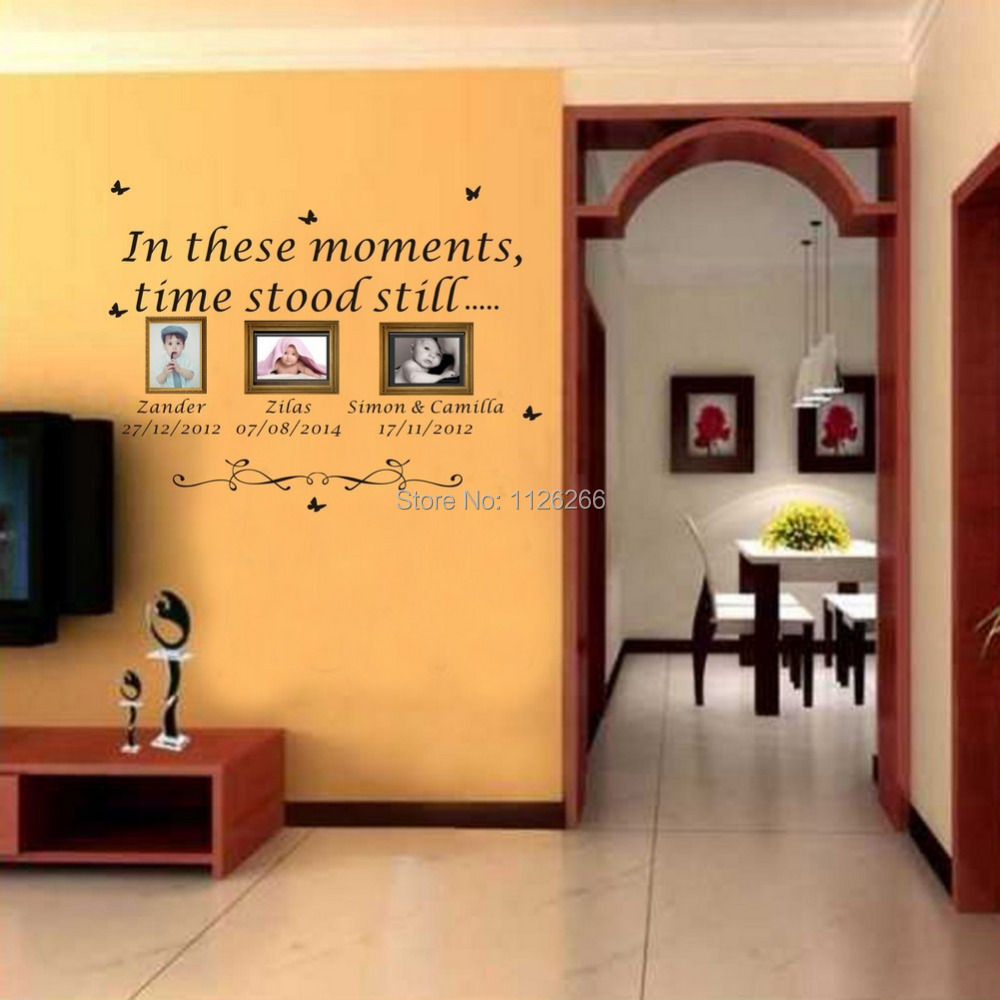 Family Children Wall Art Sticker Personalised Quote In These Moments Names  Dates Removable Wall Decal ... Part 69