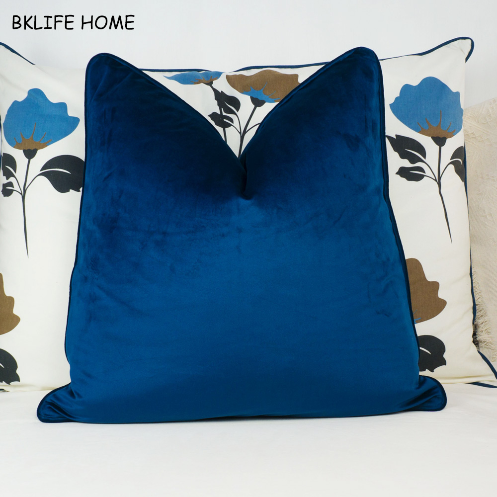 High Quality Dark Blue Piping Design Velvet Cushion Cover Pillow Case Sapphire Blue Pillow Cover No Balling-up Without Stuffing