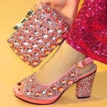 الأحذية الإيطالية مع أكياس مطابقة لحفل الزفاف إيطاليا عالية الكعب النساء أحذية الزفاف مزينة حجر الراين الأحذية ومجموعة محفظة