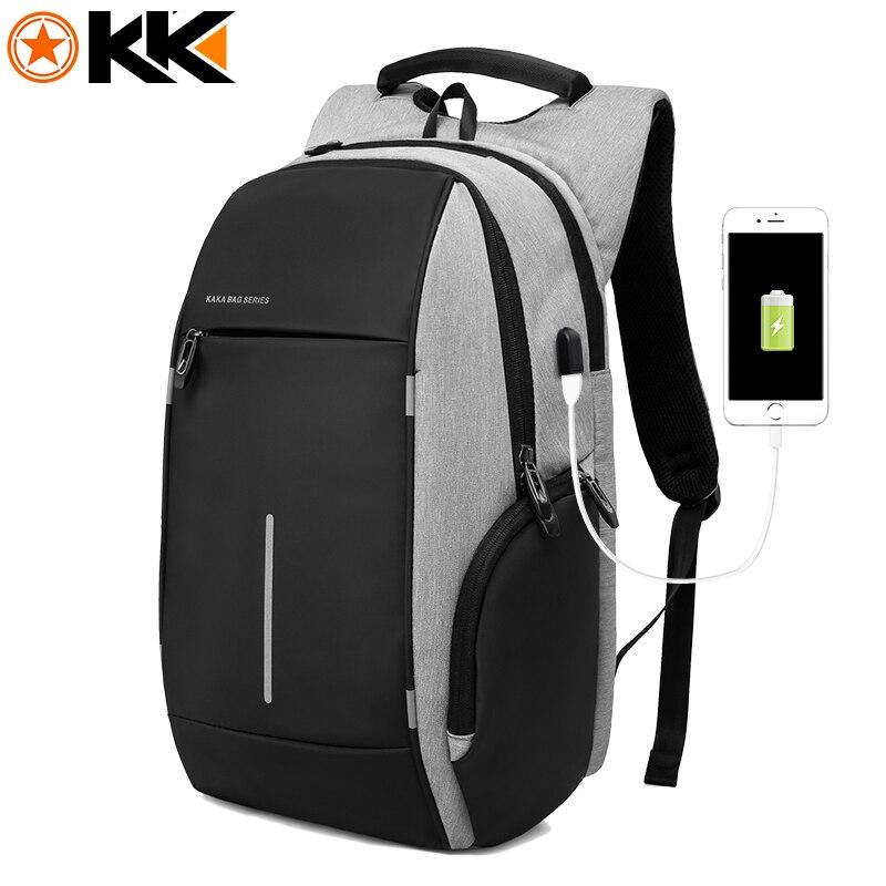 KAKA брендовая модная сумка рюкзак мужской повседневный Оксфорд 15 дюймов рюкзак для ноутбука черный водостойкий USB Anti theft рюкзаки mochila