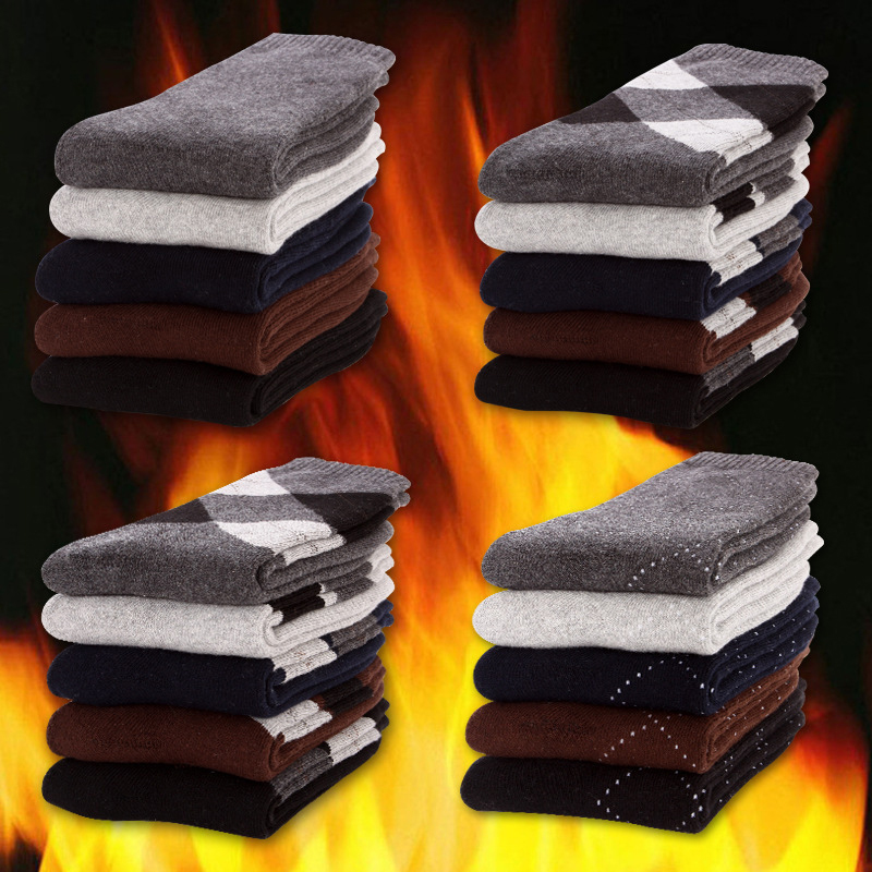 High Quality Mens Thicken Thermal Cotton   socks   Casual Winter Warm Terry   Socks   meias masculino 5 pairs / lot