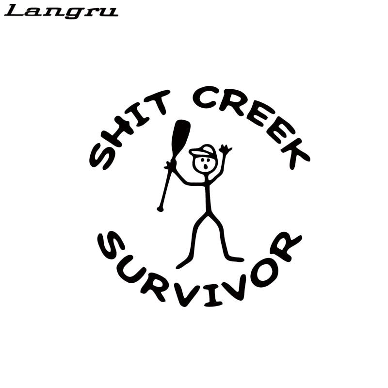 Sh*t Creek Survivor Funny Car Truck Window White Vinyl Sticker Waterproof Decal
