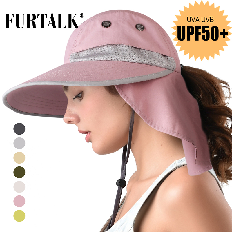 FURTALK Summer Ponytail Safari Sun Hats For Women Wide Brim Fishing Hat With Neck Flap  UPF 50+ For Hiking Camping SH056