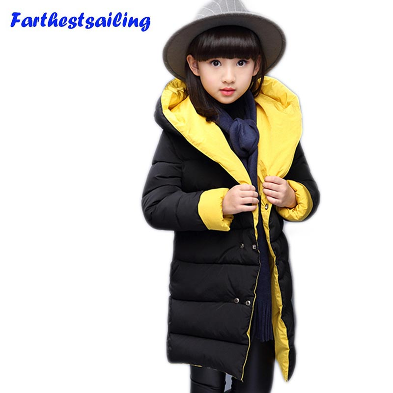 Winter Jacket  Girls child Wadded Outerwear Long Cotton-padded Jacket Thickening Children's Clothing New Girls Hooded  Coat good quality children winter outerwear 2016 girls cotton padded jacket long style warm thickening kids outdoor snow proof coat