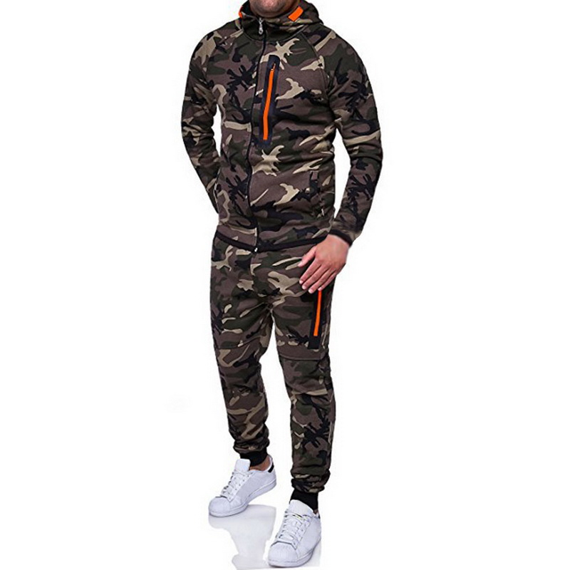 Adisputent 2019 Survêtement Hommes sweats à capuche de camouflage Pantalon Ensemble Sweats À Capuche Hommes Sportswear Costumes décontracté Slim Fit manches longues Manteau
