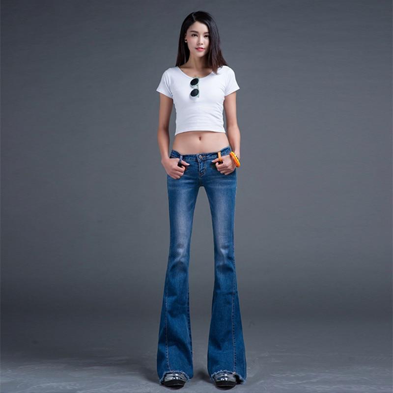 Darmowa wysyłka 2018 niskiej talii moda długie dżinsy spodnie dla kobiet Flare spodnie Plus rozmiar 25 32 Denim letnie dżinsy z frędzle w Dżinsy od Odzież damska na  Grupa 2