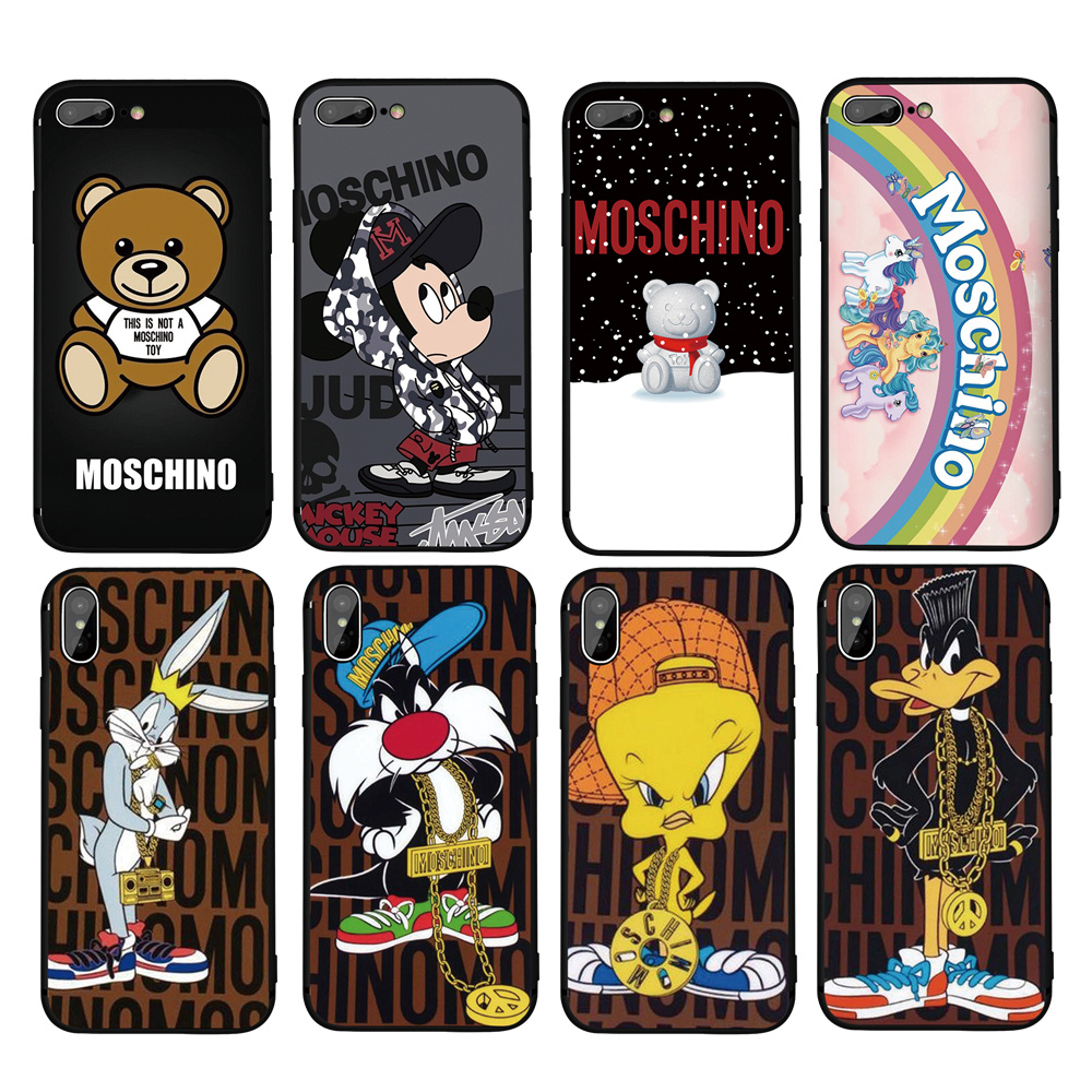 big sale af040 f478a Brand Moschino Silicone Soft Cover Iphone X 10 XR XS MAX TPU Coque Fundas  For Iphone 7 8 Plus 5S SE 6S 6 8Plus