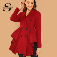 Sheinside Red Double Breasted Asymmetric Flared Skirt Coat Autumn Elegant 2018 Office Ladies Workwear Notched Collar Outerwear