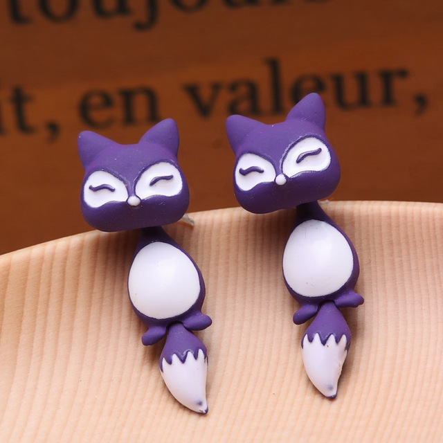 Kittenup Yellow Purple Black Fox Stud Earrings