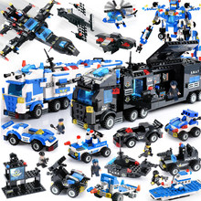 City Police Compatible LegoINGly City Blocks 8 in 1/6 In 1 Vehicle Car Helicopter Police Staction Building Blocks DIY Bricks(China)