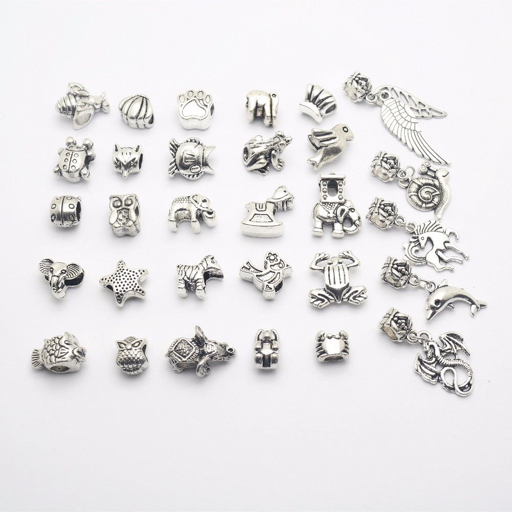 10//20//25PCS Tibetan Silver Charms Loose Spacer Beads DIY Bracelet Jewelry Making