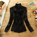 Women clothing fashion Long-sleeve Round-neck chiffon shirt slim OL 2015 summer top female elegant Beading Ruffles blouse