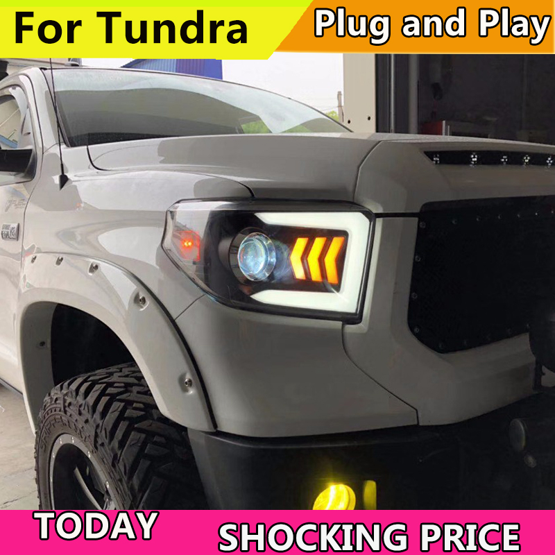 Car Styling Head Lamp case for Toyota Tundra Headlights Tundra LED Headlight DRL Lens Double Beam Bi-Xenon HID car Accessories купить в Москве 2019