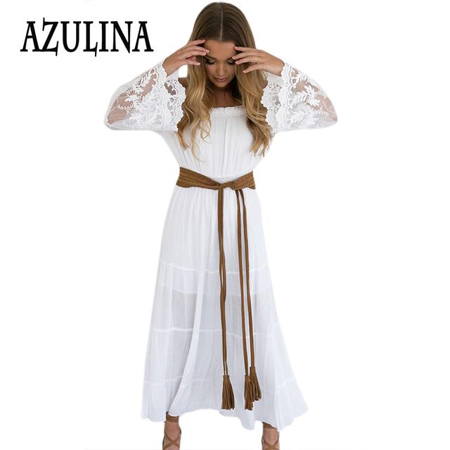 Azulina gasa summer dress para las mujeres moda del hombro de una línea de encaje blanco largo maxi dress vestido ocasional túnica femme