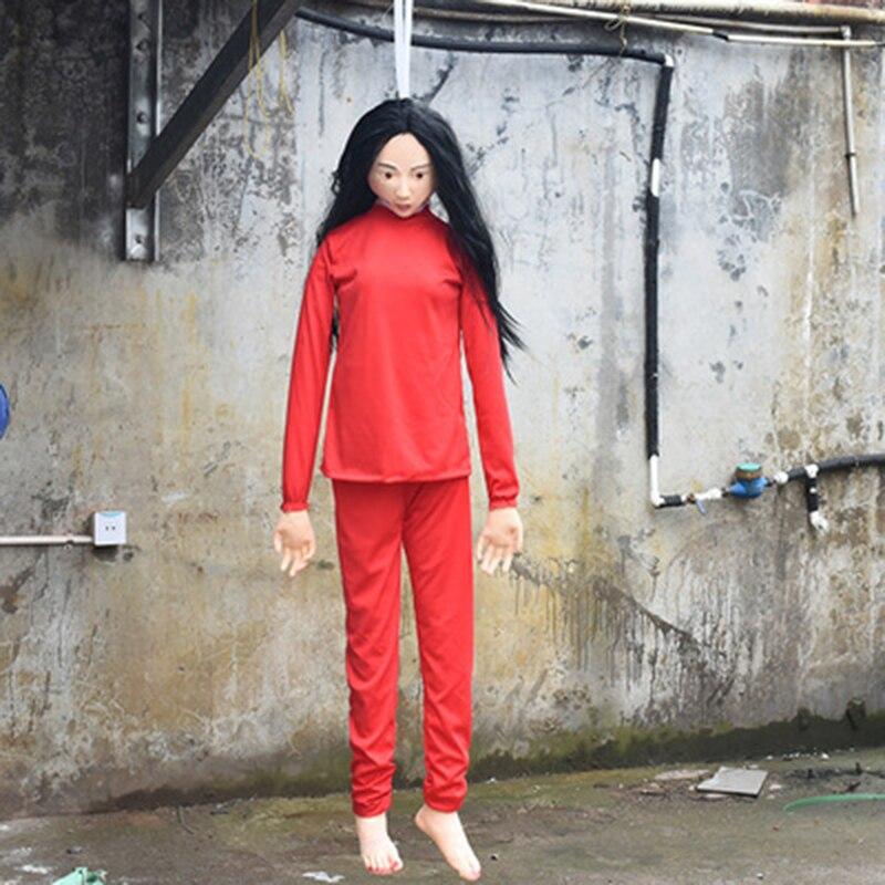 Effrayant pendaison femme fantôme Ktv Bar maison hantée évasion décor Simulation Latex cadavre Halloween décoration horreur rouge tissu fille