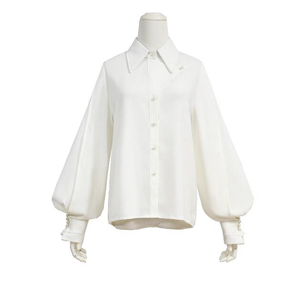 White Blouse Femme Elegant Spring Auturm Pearl Buttons Lolita Ladies Tops