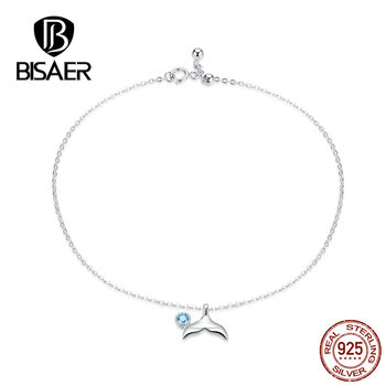 BISAER Mermaid Anklets 925 Sterling Silver Mermaid's Story Chain Silver Anklets for Women Sterling Silver Jewelry ECT004 2