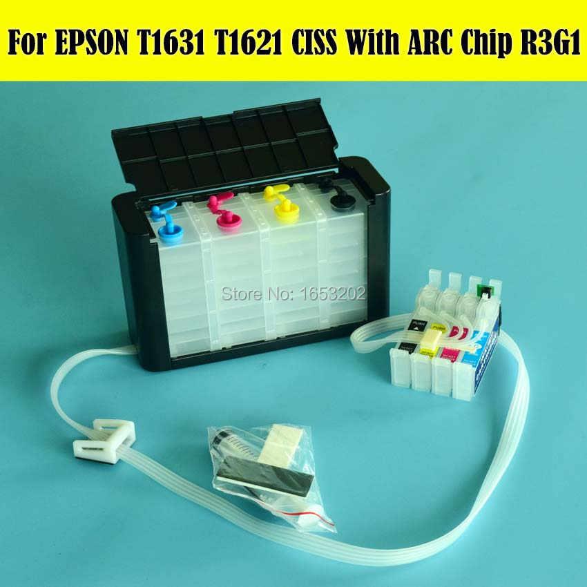 T1631 - T1634 atramentem Ciss System stałego zasilania atramentem do projektora EPSON WF-2010 WF-2630 WF-2510 WF-2520 WF-2530 WF-2540 drukarki
