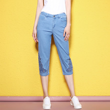 Summer and Autumn big size casual calf-length jeans embroidery hollow out breathable thin summer for women NW17B1100