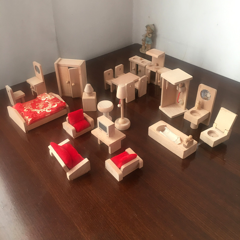 Traditional Wooden Toys Mini Wood Furniture Toy Dollhouse Doll House Decoration Safety No Oil Paint Pretend Play Novelty Gifts